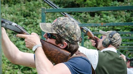 Competitors taking part in the Cobb charity shoot at High Lodge, Darsham.