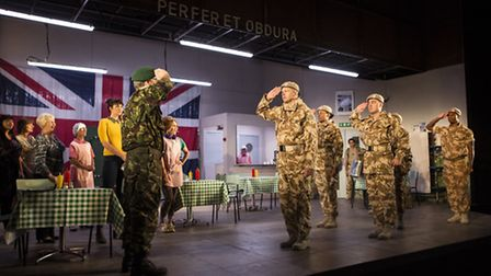 The victorious troops return home. The Mercury Theatre's production of Much Ado About Nothing is set