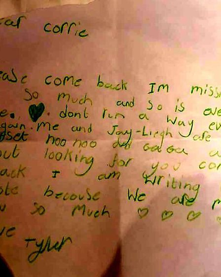 A letter sent to Corrie McKeague by his niece Tyler Watson