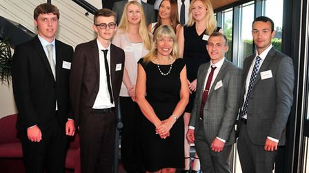 Ensors 2016 students with two of of the firm's partners, Pictured from left, starting front row: Da