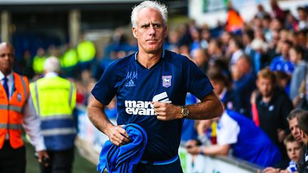 Town manager Mick McCarthy jogs to the dugout ahead of the Ipswich Town v Aston Villa (Championship)