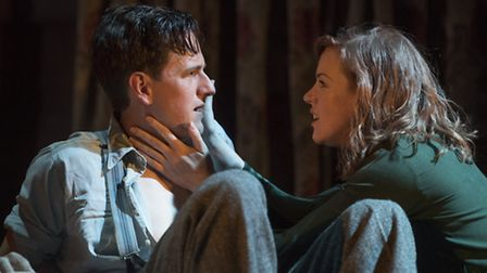 Will Featherstone as Dan and Niamh McGrady as Olivia in Night Must Fall at the New Wolsey Theatre