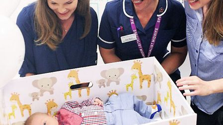 Baby Harry, mum Monica, Tracy Baxter and Jennifer Clary at the launch Baby Box at Colchester Hospita