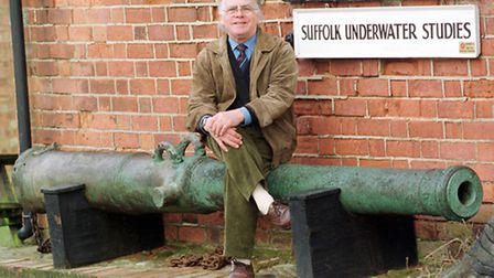 Stuart Bacon pictured sitting on the cannon from the wreck on the Dunwich Bank in 2009 - it was for