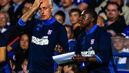 Ipswich Town manager Mick McCarthy looks at assistant manager Terry Connor. Picture: Steve Waller