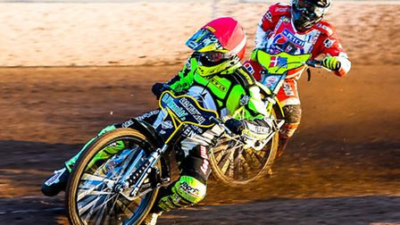 Danny King leading Lasse Bjerre during heat one of the Ipswich v Redcar (Premier League) meeting at