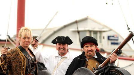 Performers at Harwich Pier for the last day of the Harwich International Shanty Festival in 2014. L-