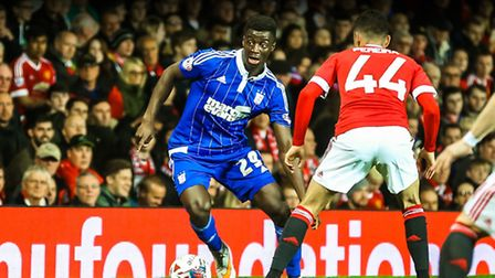 Josh Emmanuel on the ball during the Manchester United v Ipswich Town (Capital One Cup) match at Old
