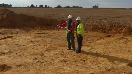 Archaeologist Slawek Utrata, of Albion Archaeology, and UK Power Networks project manager Chris Suga