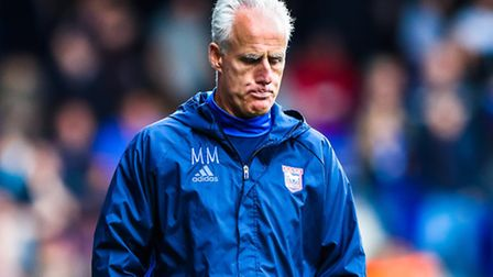 Town manager Mick McCarthy IS pictured walking off the pitch at the Ipswich Town v Huddersfield (Sky