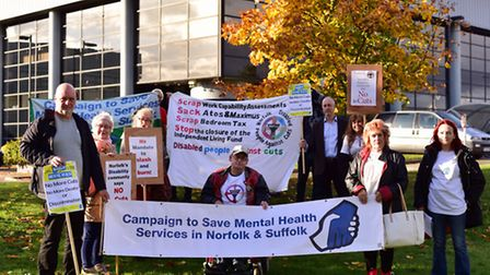 Campaigners protest outside the NSFT AGM at IP-City Centre in Ipswich.