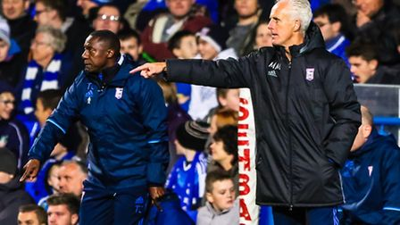 Town manager Mick McCarthy and his assistant Terry Connor during the Ipswich Town v Burton Albion (S
