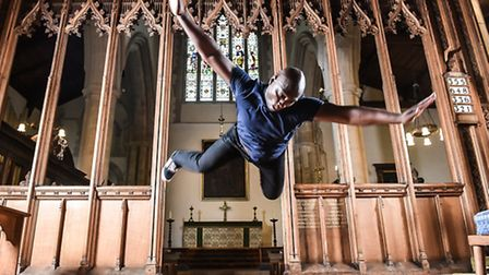 Joseph Toonga rehearsing in Orford Church for the premiere of To Be Felt