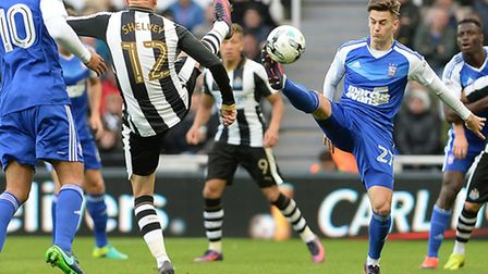 Tom Lawrence goes toe-to-toe with Newcastle's Jonjo Shelvey