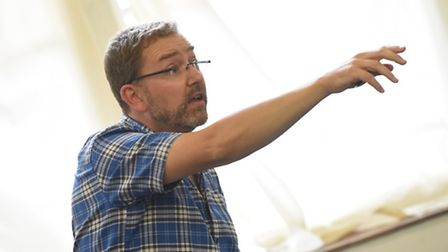 Daniel Buckroyd, artistic director of Colchester Mercury, directing rehearsals for Sweeney Todd