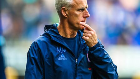 Town manager Mick McCarthy walks off the pitch at half time in the Ipswich Town v Rotherham United (