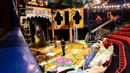 Behind the scenes at The New Wolsey Theatre as they set up for 'Sinbad' - photo by Sarah Lucy Brown