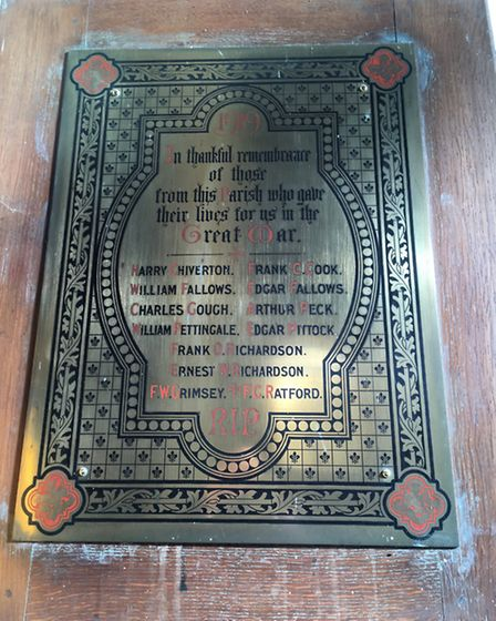 The plaque in St Mary's, bearing the names of a dozen men killed in The Great War