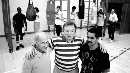 Frank Peake (centre) with Smiler, and Rory Burke. 17. May 93 BOXING