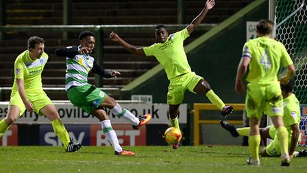 Yeovil's Tahvon Campbell scores the winner to sink Colchester late in the game at Huish Park on Satu