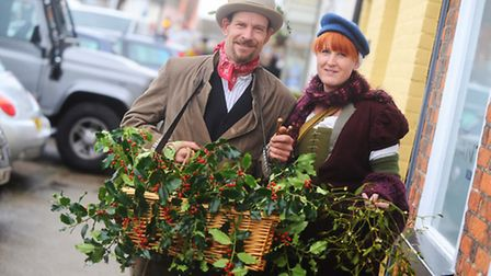 Long Melford Olde Christmas Fair last year. Left to right, Peter O'Brian and Hannah Dines.