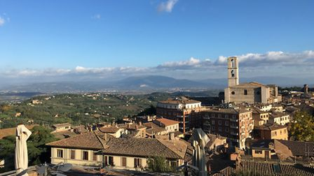 Charlotte Travel Umbria. A bird's eye view from the top of Perugia.