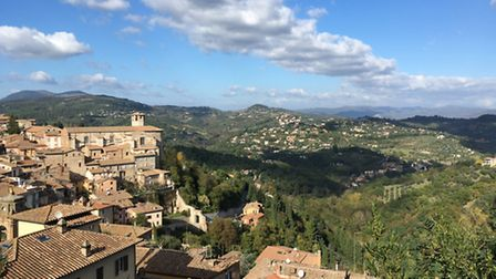 Charlotte Travel Umbria. A view from the Door of the Sun at the top of Perugia.