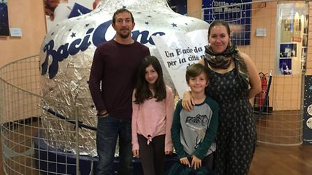 Charlotte Travel Umbria. Charlotte, Jarv, Ella and Ethan with the world's largest Baci.
