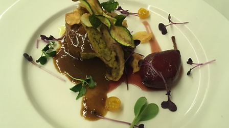 Charlotte Travel Umbria. Guinea fowl stuffed with mushrooms at the Valle Di Assisi resort.