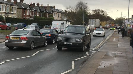 Traffic at a standstill on Norwich Road in Ipswich - it's better to be walking along taking pictures