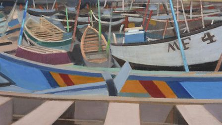 Boat Yard, Ghana by Katherine Hamilton which forms part of her new exhibition Landscape Journeys Ins