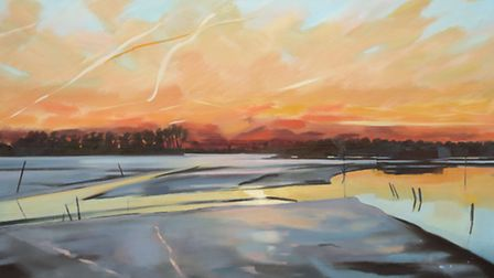 February Dawn, Blyth Estuary by Katherine Hamilton which forms part of her new exhibition Landscape