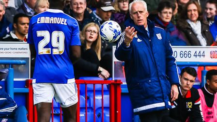 Ipswich Town manager Mick McCarthy throws the ball to Josh Emmanuel. Picture: Steve Waller