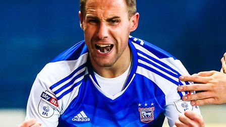 Luke Varney celebrates putting Town 2-0 up in the Ipswich Town v Queens Park Rangers (Sky Bet Champi