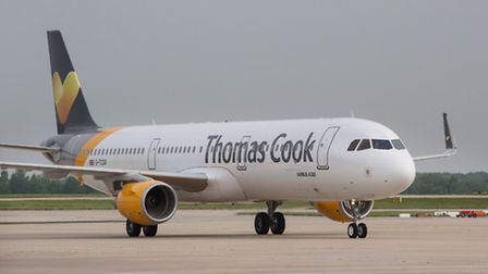 A Thomas Cook Airlines Airbus A321 aircraft at Stansted Airport.