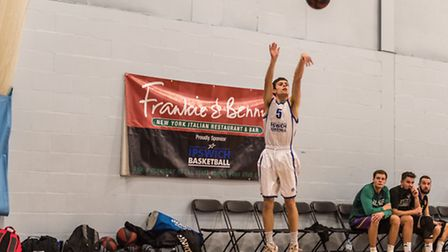 Cameron Hawes fires up a three-pointer against Doncaster