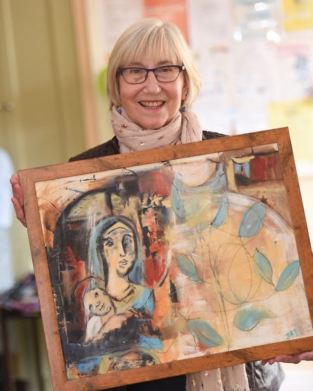 Jenny Taylor and her painting