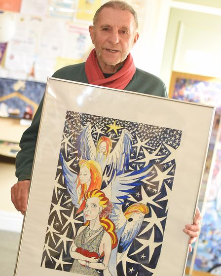 Paul Bruce with work inspired by the theme of Madonna and Child
