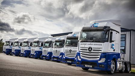 Some of the new Allport Cargo Services-branded Mercedes-Benz Actros 2545 tractor units purchased by