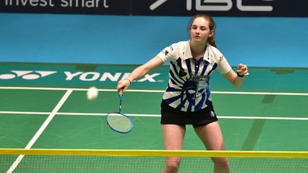Suffolk Saxons v Surrey Smashers at the Ipswich Corn Exchange. Zoe King in action for the Suffolk