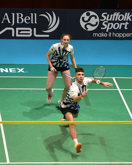 Suffolk Saxons v Surrey Smashers at the Ipswich Corn Exchange. Sean Vendy and Zoe King (Suffolk S