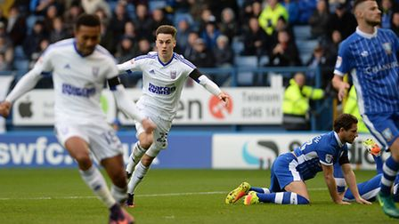 Tom Lawrence celebrates his goal against Sheffield Wednesday during the first half. Photo: Pagepix L