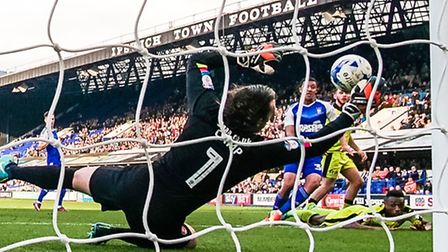 A Myles Kenlock effort is palmed away by Rotherham United's keeper Lee Camp, during the first half o