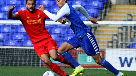 Ipswich Town midfielder Andre Dozzell in action against Liverpool in an Under-23 fixture. Photo: Jam