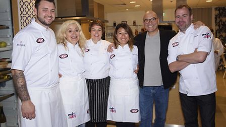 From left, Tom Dell, Sophie Thompson, Kelly Snowdon, Ping Coombes, Gregg Wallace and Chris Lee who h