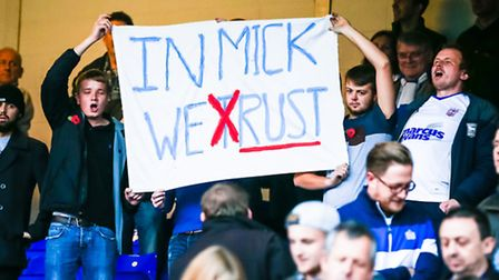 Disgruntled Town fans hold up a banner at the end of the Ipswich Town v Rotherham United (Sky Bet Ch