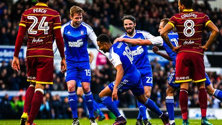 Grant Ward wheels away after putting Town into a 1-0 lead in the Ipswich Town v Queens Park Rangers