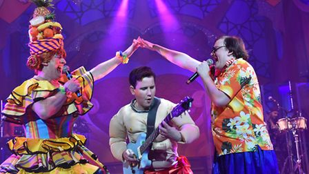 Graham Kent, James Haggie and Rob Falconer in Sinbad, the New Wolsey's latest rock'n'roll pantomime