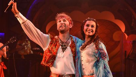 Steve Rushton as Sinbad and Daniella Piper as Princess Pearl in Sinbad, the New Wolsey's latest rock
