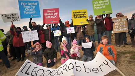 Angry beach hut owners protesting against beach hut and chalet rent rises at Felixstowe.